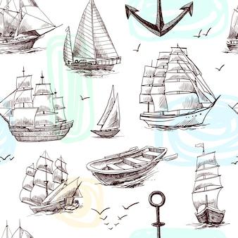 Zeilen lang schepen fregatten brigantijn clipper jachten en boot schets naadloze patroon vector illustratie