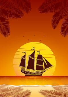 Zeilschip achtergrond