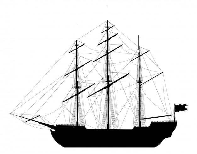 Zeilschip geïsoleerd