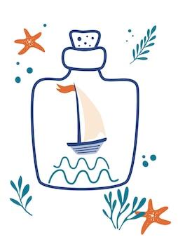 Zeilschip in de fles zeilboot zeester zeewier en fles