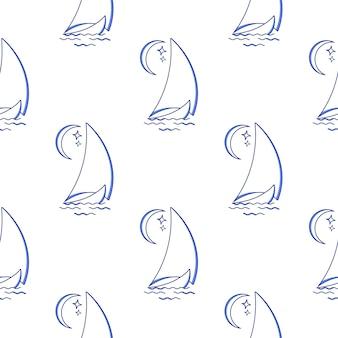 Zeilschip in de golven tegen het naadloze patroon van de maan. pictogram in lijn kunststijl. reis, vervoer.