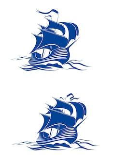 Zeilschip in oceaanwater voor reis of een ander ontwerp