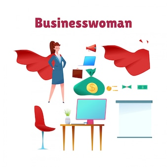 Zekere aantrekkelijke bedrijfsvrouw die zich in kostuum en rode kaap bevindt. office meisje manager held. succesvolle superheld-ondernemer. professionele man, concept van leiderschap, prestatie en carrière