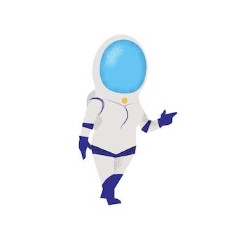 Zekere vrouw die in ruimtepak loopt. pionier, ontdekkingsreiziger.