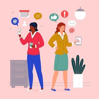 Zekere vrouwelijke ondernemers geïllustreerd