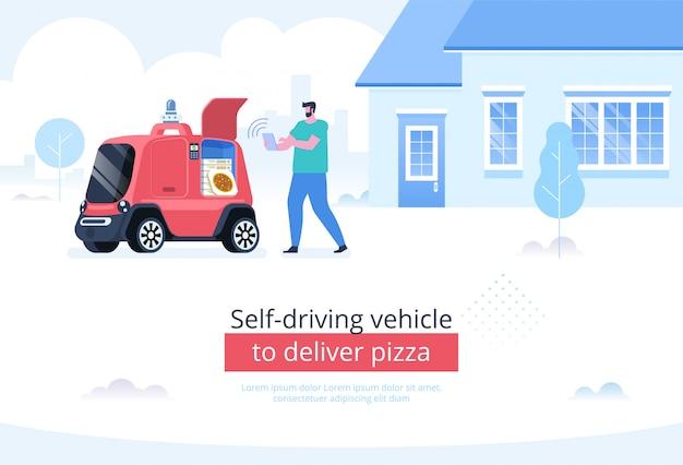 Zelf rijdend voertuig om pizzaachtergrond te leveren