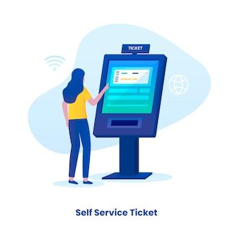 Zelf ticketing service illustratie concept