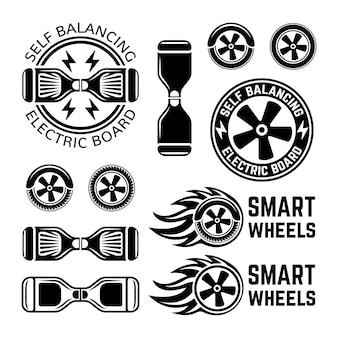 Zelfbalancerende elektrische scooter op twee wielen set van monochrome labels, insignes, emblemen en ontwerpelementen