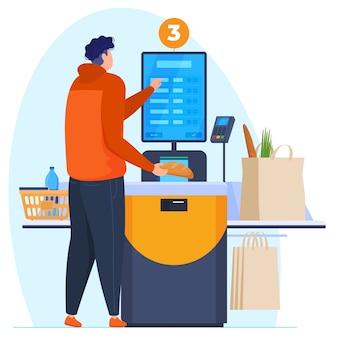 Zelfbediening afrekenen. de man ponst de goederen bij de zelfbedieningskassa. betaling per kaart in de supermarkt. vector illustratie