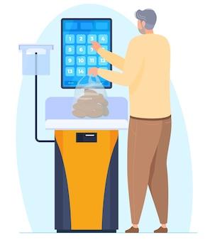 Zelfbedieningsweegschaal in een supermarkt, een persoon weegt aardappelen op een weegschaal in een supermarkt. vector illustratie
