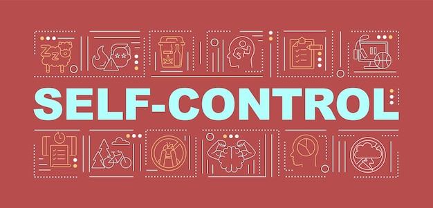 Zelfbeheersing tips woord concepten banner