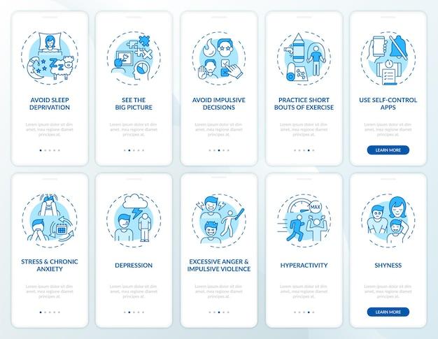 Zelfcontrole blauwe onboarding mobiele app paginascherm met concepten set