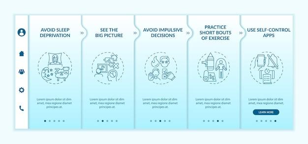 Zelfcontrole stimulerende tips onboarding vectorsjabloon. responsieve mobiele website met pictogrammen. webpagina walkthrough 5 stappen schermen. kleurconcept voor persoonlijke groei met lineaire illustraties