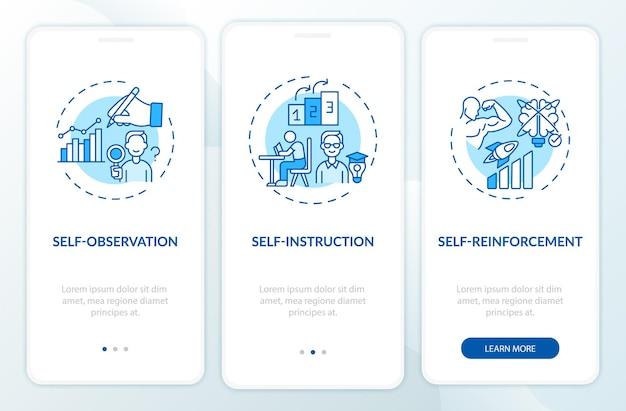 Zelfcontroletechnieken blauw onboarding mobiel app-paginascherm met concepten