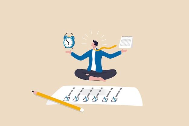 Zelfdiscipline of zelfbeheersing om het werk te voltooien of een zakelijk doel te bereiken, tijdbeheer om het productiviteitsconcept te verhogen, zakenman mediteren balancerende klok en kalender op voltooid taakpapier