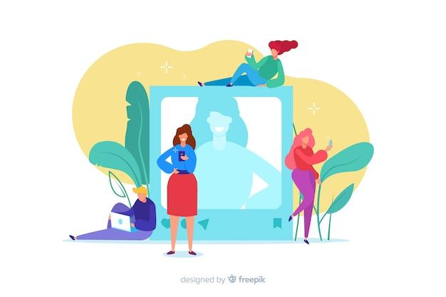 Zelffoto concept met karakters