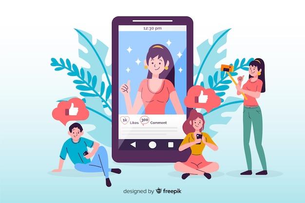 Zelffoto concept op sociale media