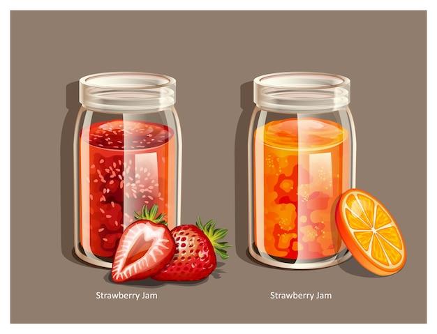Zelfgemaakte aardbeienjam en sinaasappelmarmeladejam op de pot bovenaanzicht