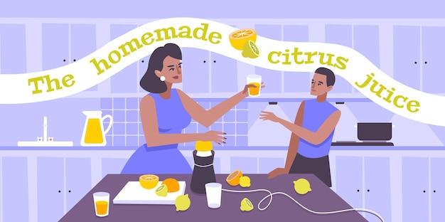 Zelfgemaakte citrusvruchtensap vlakke afbeelding met vrouw die glas natuurlijk vers sap serveert aan jonge man