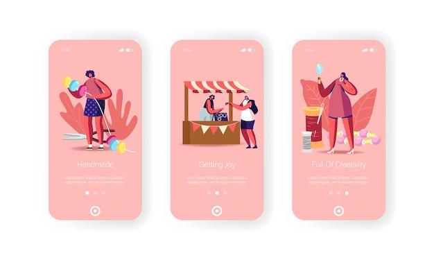 Zelfgemaakte, handgemaakte mobiele app-pagina onboard-schermsjabloon