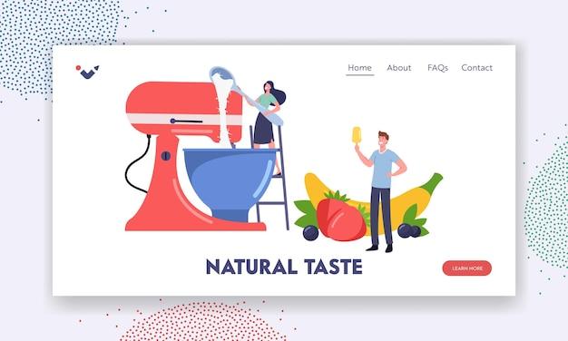 Zelfgemaakte icecream.landing page template. kleine personages koken zelfgemaakt ijs met fruit en bessen met behulp van een enorme mixer. meisje cook sweet dessert in kom. cartoon mensen vectorillustratie