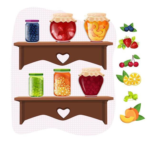 Zelfgemaakte jam. marmelade fruit dessert jamming potten traditionele glazen verpakkingen op planken set.
