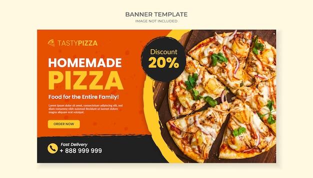 Zelfgemaakte pizza eten sjabloon voor spandoek
