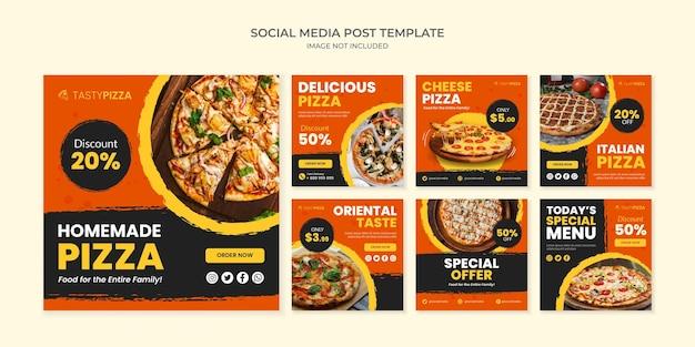 Zelfgemaakte pizza social media postsjabloon voor restaurant en café