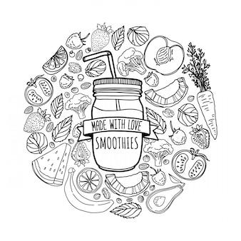 Zelfgemaakte smoothie design met silhouet smoothie pot en en ingrediënten decoratie met fruit, groenten en kruiden in lijnstijl