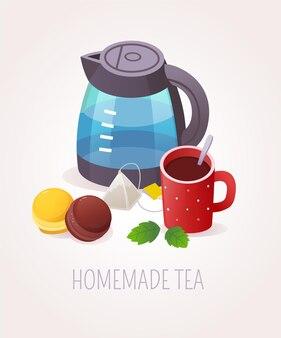 Zelfgemaakte thee serveren illustratie