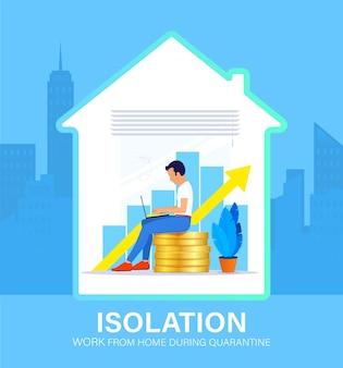 Zelfisolatie concept. jonge man aan het werk vanuit huis