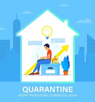 Zelfisolatie concept. jonge man die vanuit huis werkt tijdens covid-19. ze blijven allemaal thuis. zelf isoleren van een pandemie. thuiswerken op afstand tijdens quarantaine.