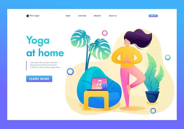 Zelfisolatie, het meisje doet thuis yoga in een rustige omgeving. platte 2d. pagina vector landing illustratie.