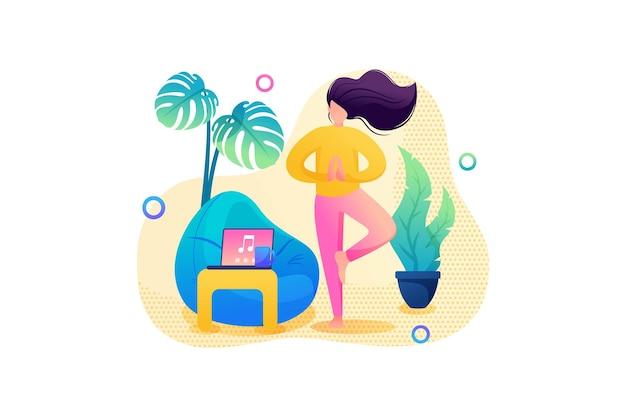 Zelfisolatie, het meisje doet thuis yoga in een rustige omgeving. platte 2d. vector illustratie webdesign.