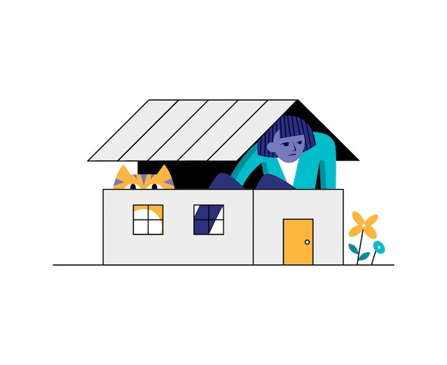 Zelfisolerende modus. een vrouw zit thuis met een kat. een persoon voelt zich verkrampt en claustrofobisch terwijl hij opgesloten zit. depressie afzonderlijk. blijf thuis concept. vector illustratie