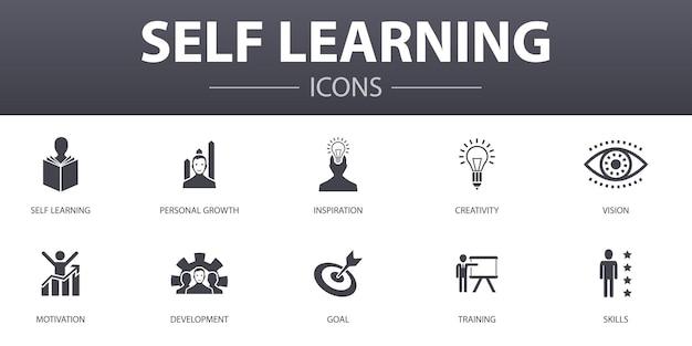 Zelflerend eenvoudig concept iconen set. bevat iconen als persoonlijke groei, inspiratie, creativiteit, ontwikkeling en meer, kan worden gebruikt voor web, logo, ui/ux