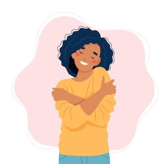 Zelfliefde concept, vrouw knuffelen zichzelf