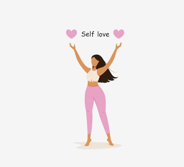 Zelfliefdeconcept gelukkige jonge donkerharige vrouw met roze hart