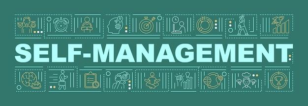 Zelfmanagementstrategieën woordconcepten banner