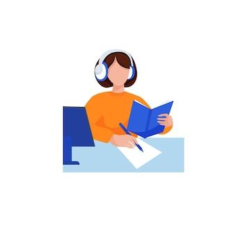 Zelfonderwijs meisje leert zelf uit schoolboeken huiswerk maken en computer gebruiken