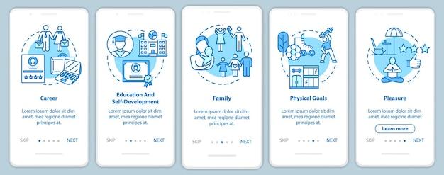 Zelfontwikkeling onboarding mobiele app paginascherm met concepten. carrière en recreatie. life building walkthrough 5 stappen grafische instructies. ui-vectorsjabloon met rgb-kleurenillustraties