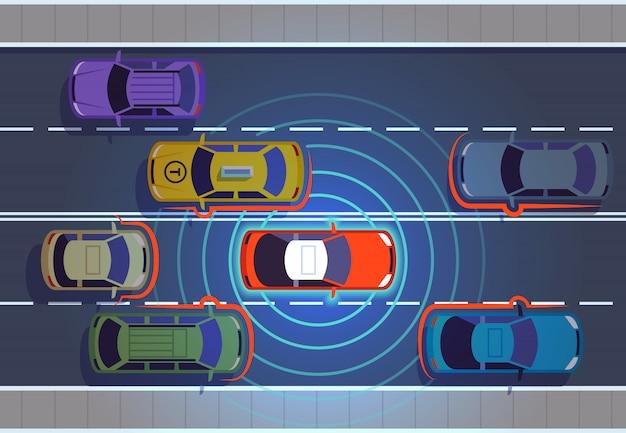 Zelfrijdende auto. automotive auto's futuristische technologie op afstand bovenaanzicht auto autonome slimme auto autonoom