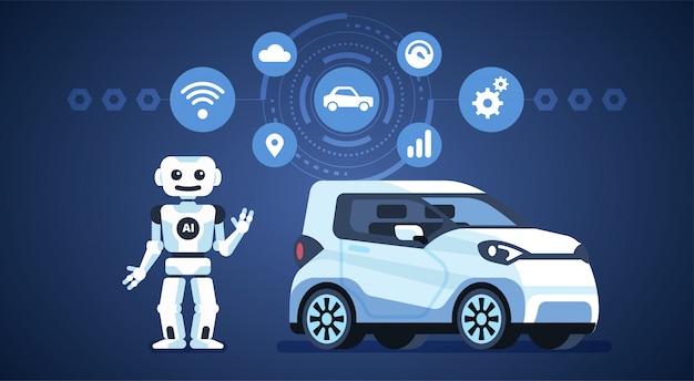 Zelfrijdende auto met robot en pictogrammen