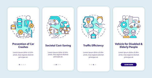 Zelfrijdende auto's voor het onboarding-paginascherm van de mobiele app. zelfstandige voertuig walkthrough 4 stappen grafische instructies met concepten. ui, ux, gui vectorsjabloon met lineaire kleurenillustraties