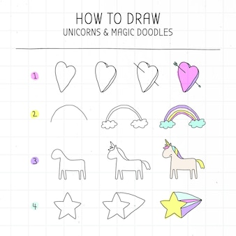 Zelfstudie over het tekenen van eenhoorn en magische doodles