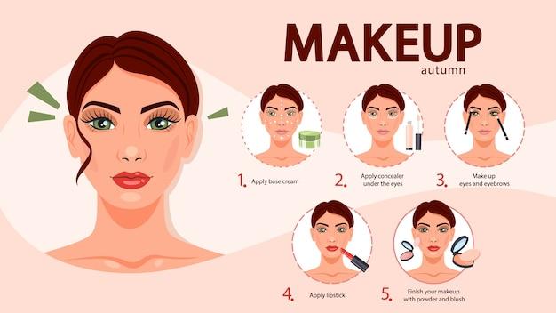 Zelfstudie voor gezichtsmake-up voor vrouwen. crème en concealer aanbrengen