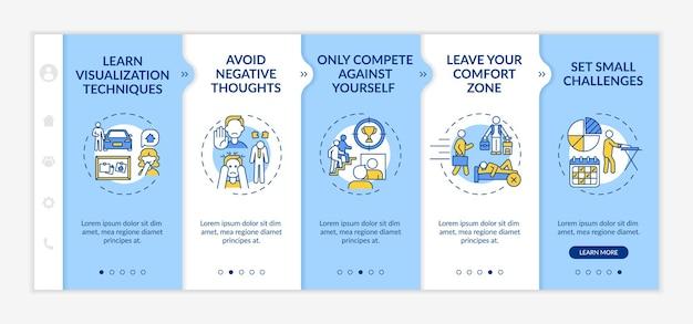 Zelfverbeteringsstrategieën onboarding vectorsjabloon. responsieve mobiele website met pictogrammen. webpagina walkthrough 5 stappen schermen. vaardigheidsontwikkeling kleurconcept met lineaire illustraties