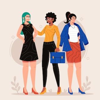 Zelfverzekerd vrouwelijke ondernemers plat ontwerp