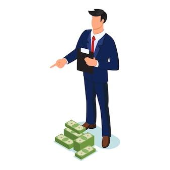 Zelfverzekerde anonieme man in formeel pak permanent met klembord in de buurt van stapels bankbiljetten en wijzende vinger naar iets, orde geven. storting, salarissen, krediet, pandjeshuis concept. isometrisch.