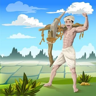 Zelfverzekerde tamil-boer voor rijstveld